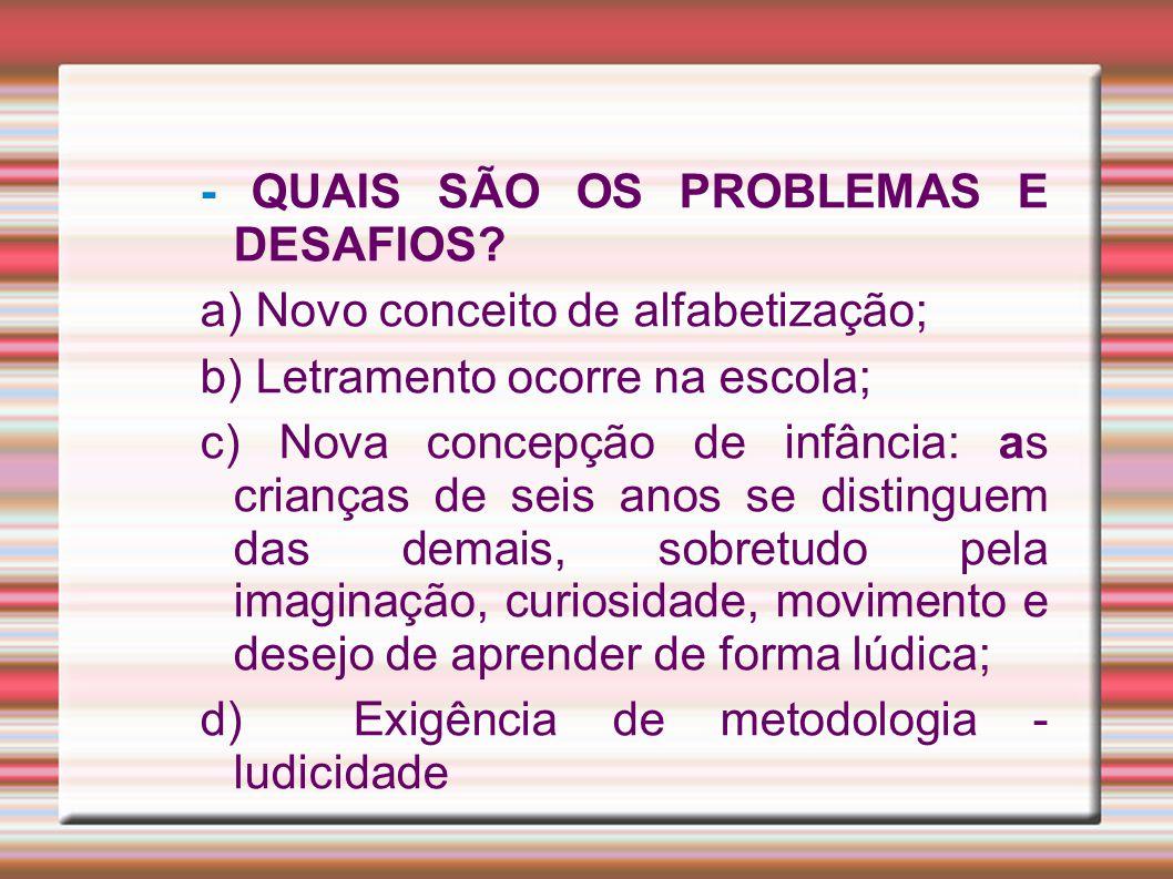 - QUAIS SÃO OS PROBLEMAS E DESAFIOS.