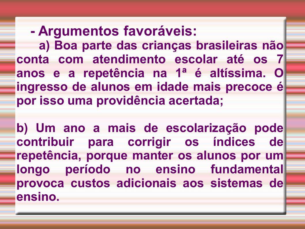 - Argumentos favoráveis: a) Boa parte das crianças brasileiras não conta com atendimento escolar até os 7 anos e a repetência na 1ª é altíssima.