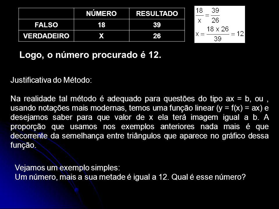 NÚMERO RESULTADO FALSO18 39 VERDADEIROX 26 Logo, o número procurado é 12.