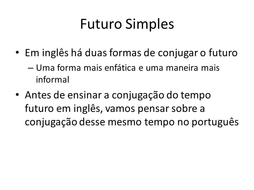 Em inglês há duas formas de conjugar o futuro – Uma forma mais enfática e uma maneira mais informal Antes de ensinar a conjugação do tempo futuro em i