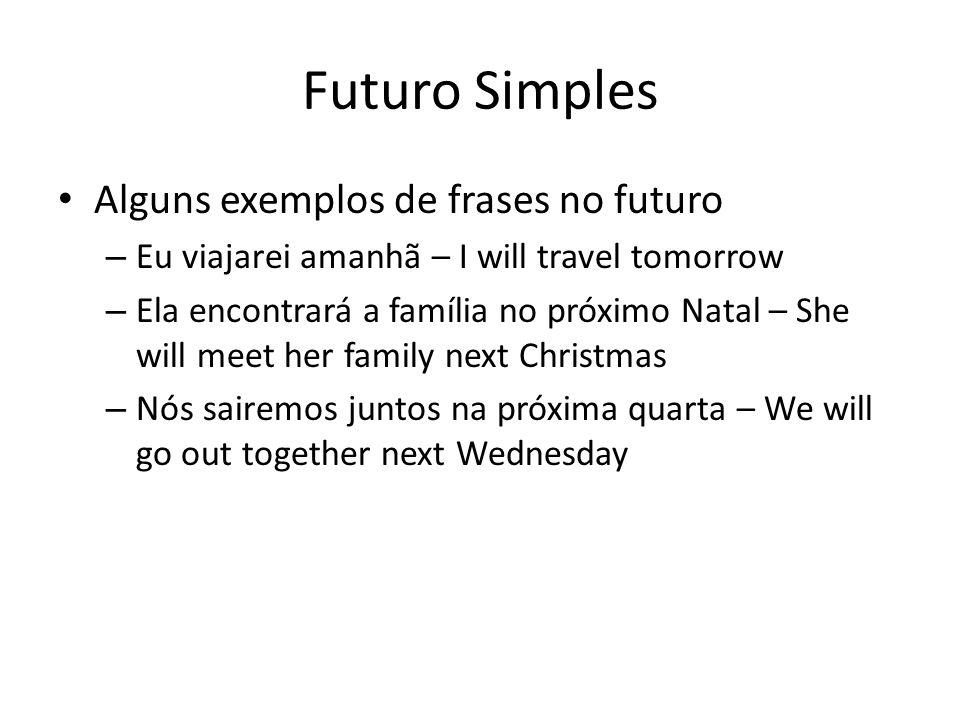 Futuro Simples Alguns exemplos de frases no futuro – Eu viajarei amanhã – I will travel tomorrow – Ela encontrará a família no próximo Natal – She wil