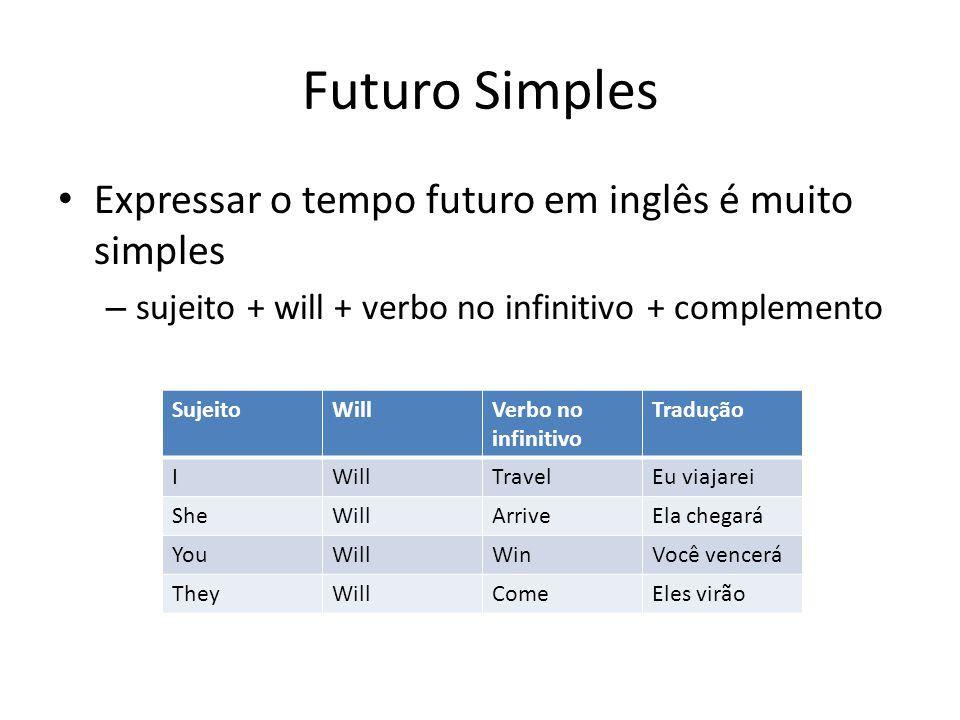 Futuro Simples Expressar o tempo futuro em inglês é muito simples – sujeito + will + verbo no infinitivo + complemento SujeitoWillVerbo no infinitivo