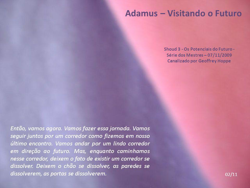 Adamus – Visitando o Futuro Shoud 3 - Os Potenciais do Futuro - Série dos Mestres – 07/11/2009 Canalizado por Geoffrey Hoppe Este Shoud 3 – Os Potenciais do Futuro, é acessável na sua integralidade no link http://www.novasenergias.net/circulocar mesim/textos/SeriedosMestres3.html Os 11 Slides destacados neste PPS, foram apenas uma pequena parte de tantas outras preciosidades igualmente destacáveis na totalidade do Shoud.