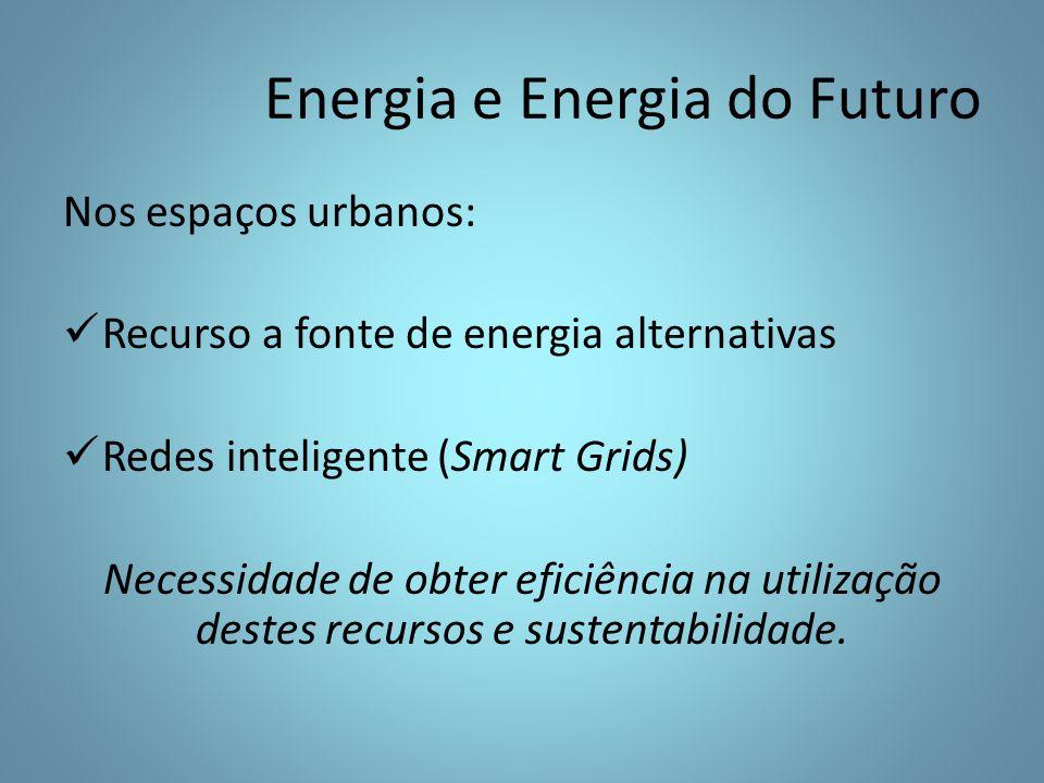 Nos espaços urbanos: Recurso a fonte de energia alternativas Redes inteligente (Smart Grids) Necessidade de obter eficiência na utilização destes recursos e sustentabilidade.