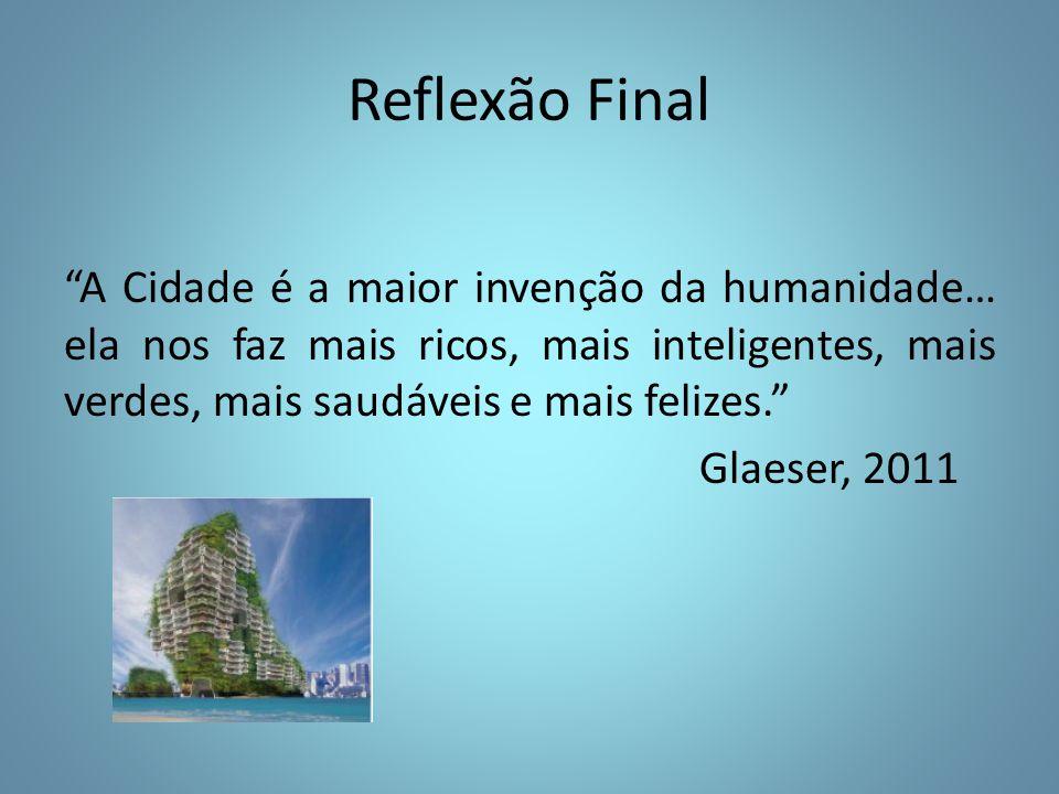 Reflexão Final A Cidade é a maior invenção da humanidade… ela nos faz mais ricos, mais inteligentes, mais verdes, mais saudáveis e mais felizes. Glaeser, 2011