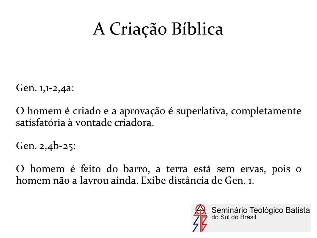 A Criação Bíblica Gen. 1,1-2,4a: O homem é criado e a aprovação é superlativa, completamente satisfatória à vontade criadora. Gen. 2,4b-25: O homem é