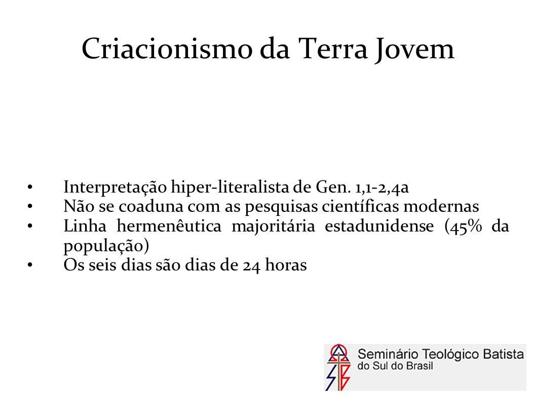 Criacionismo da Terra Jovem Interpretação hiper-literalista de Gen. 1,1-2,4a Não se coaduna com as pesquisas científicas modernas Linha hermenêutica m