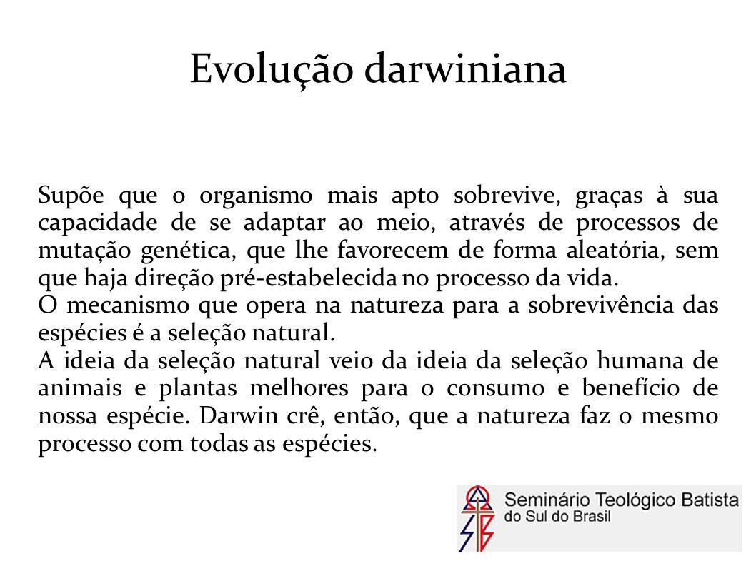 Evolução darwiniana Supõe que o organismo mais apto sobrevive, graças à sua capacidade de se adaptar ao meio, através de processos de mutação genética