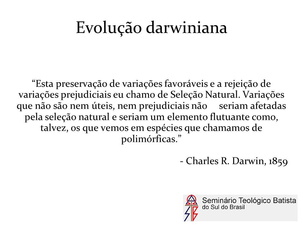 """Evolução darwiniana """"Esta preservação de variações favoráveis e a rejeição de variações prejudiciais eu chamo de Seleção Natural. Variações que não sã"""