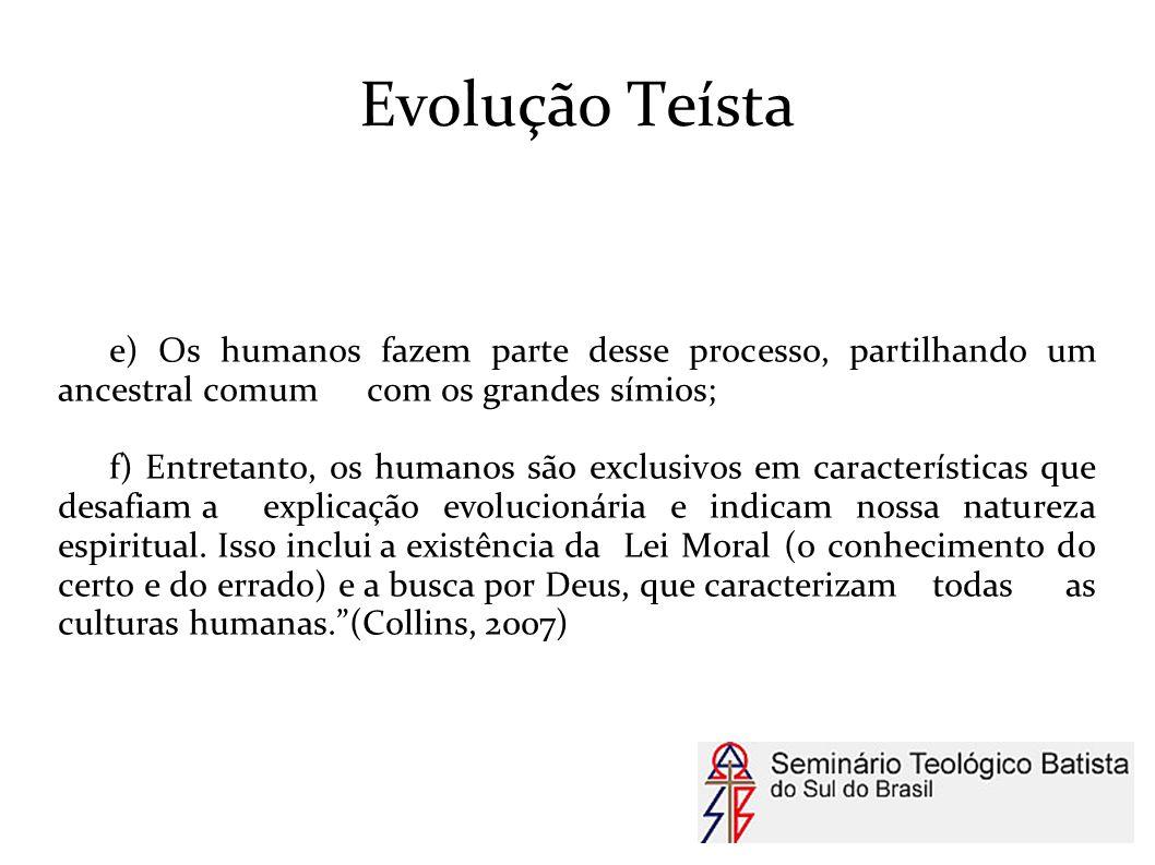 Evolução Teísta e) Os humanos fazem parte desse processo, partilhando um ancestral comum com os grandes símios; f) Entretanto, os humanos são exclusiv
