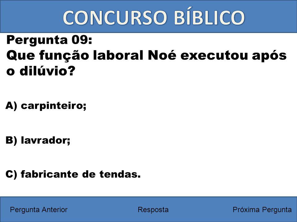 A) carpinteiro; Pergunta 09: Que função laboral Noé executou após o dilúvio? RespostaPróxima PerguntaPergunta Anterior B) lavrador; C) fabricante de t