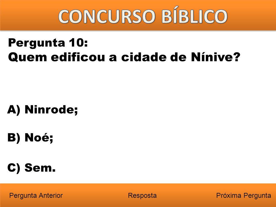 Próxima PerguntaPergunta Anterior A) Ninrode; Pergunta 10: Quem edificou a cidade de Nínive? Resposta B) Noé; C) Sem.