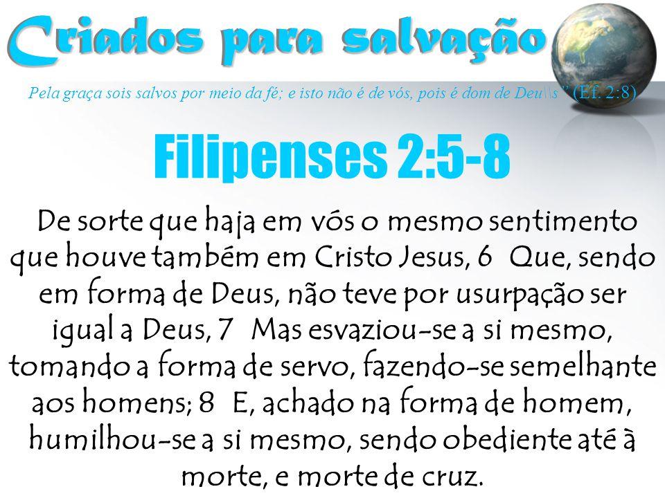 """Pela graça sois salvos por meio da fé; e isto não é de vós, pois é dom de Deu\\s """" (Ef. 2:8) Criados para salvação Criados para salvação De sorte que"""