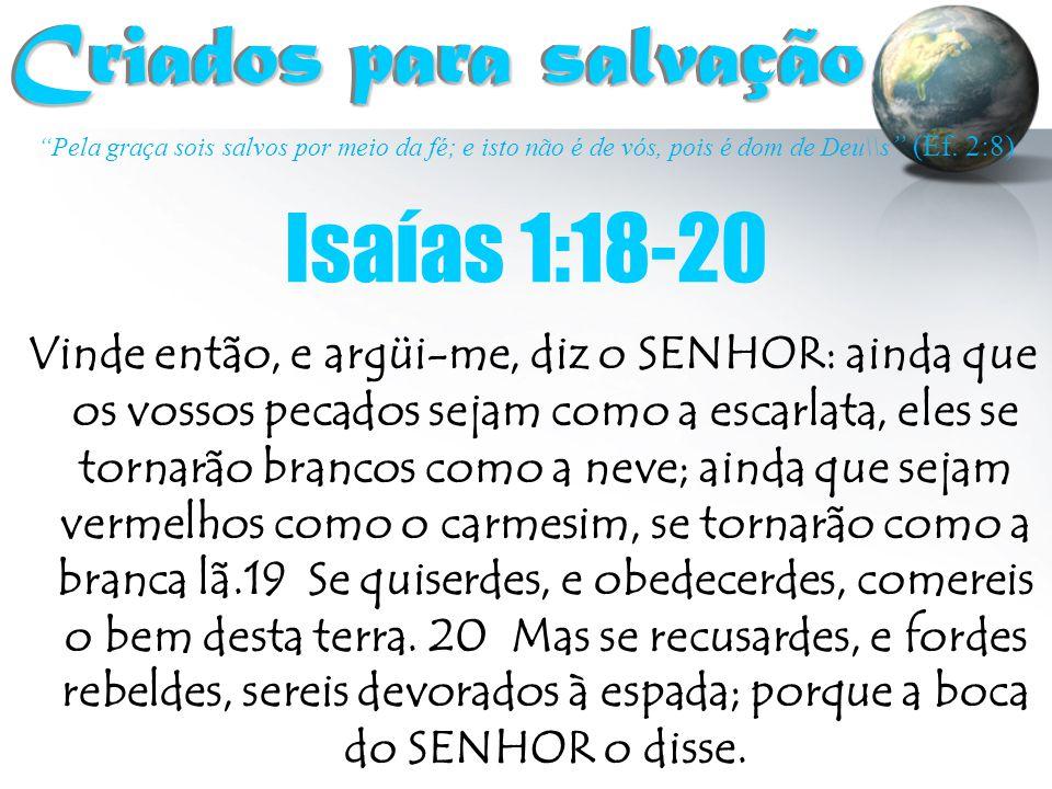"""""""Pela graça sois salvos por meio da fé; e isto não é de vós, pois é dom de Deu\\s """" (Ef. 2:8) Criados para salvação Criados para salvação Vinde então,"""