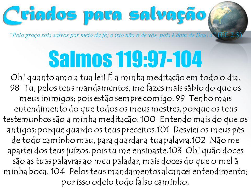 """""""Pela graça sois salvos por meio da fé; e isto não é de vós, pois é dom de Deu\\s """" (Ef. 2:8) Criados para salvação Criados para salvação Salmos 119:9"""