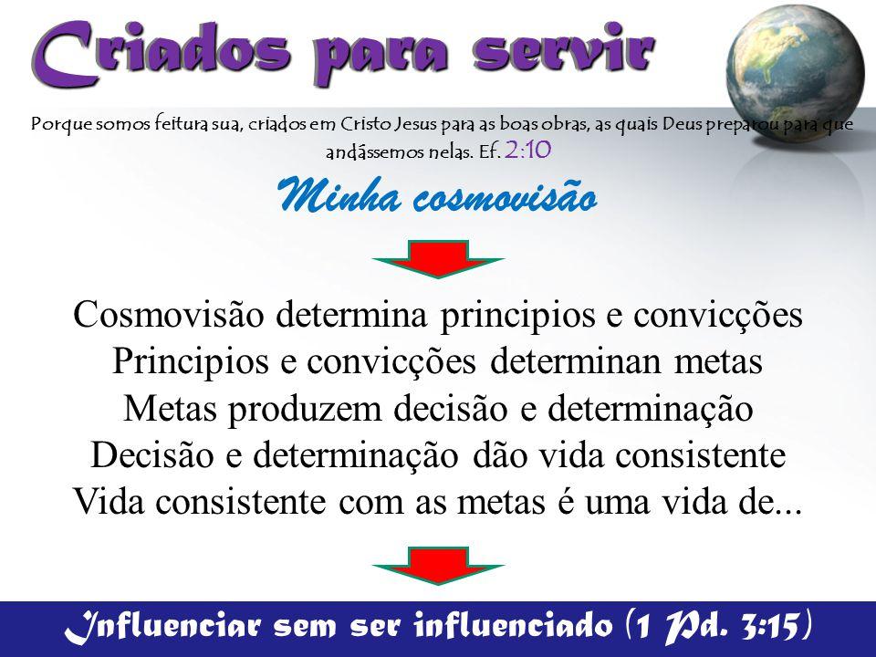 Criados para servir Criados para servir Cosmovisão determina principios e convicções Principios e convicções determinan metas Metas produzem decisão e
