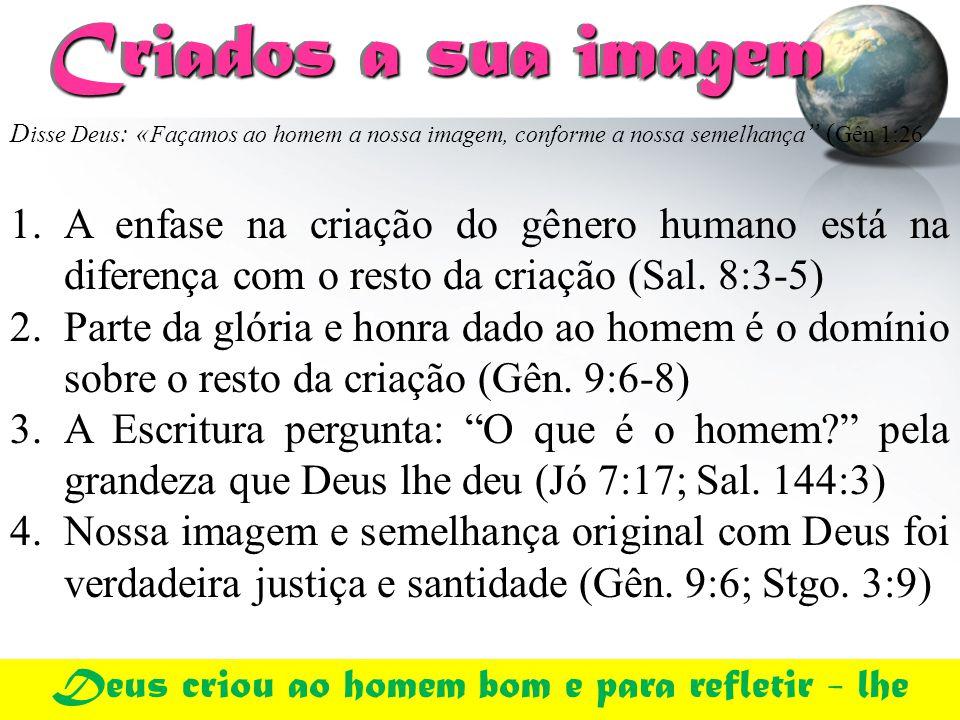 Criados a sua imagem Criados a sua imagem 1.A enfase na criação do gênero humano está na diferença com o resto da criação (Sal. 8:3-5) 2.Parte da glór