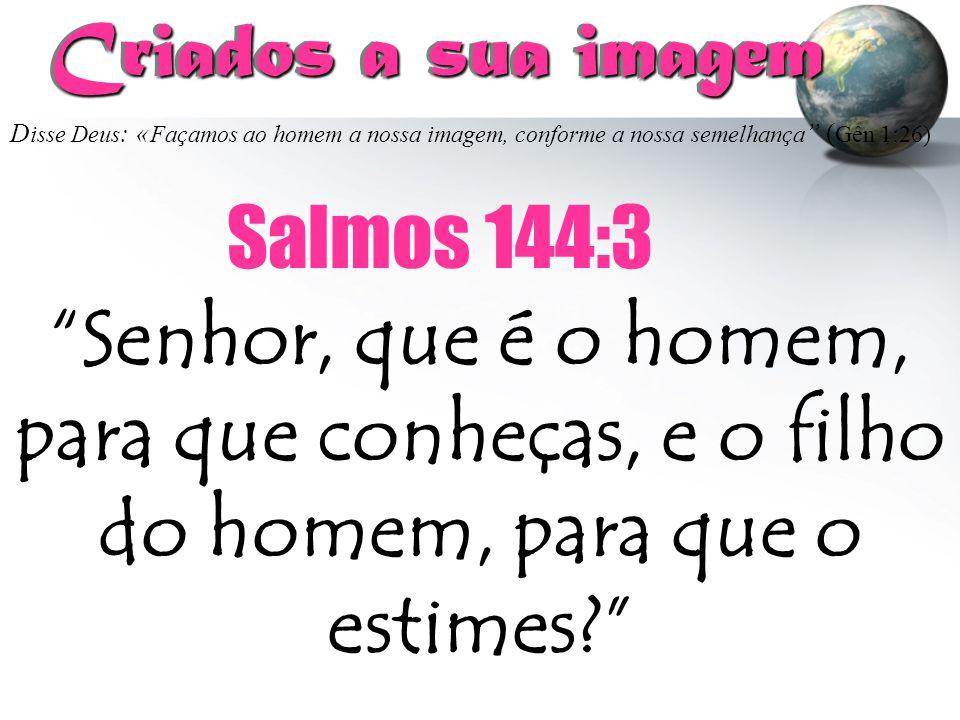 """D isse Deus : « Façamos ao homem a nossa imagem, conforme a nossa semelhança """" ( Gên 1:26) Criados a sua imagem Criados a sua imagem """"Senhor, que é o"""