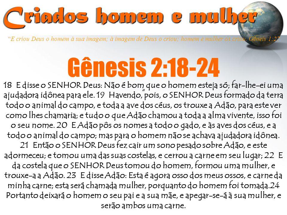 """""""E criou Deus o homem à sua imagem; à imagem de Deus o criou; homem e mulher os criou. Gêneis 1:27 Criados homem e mulher Criados homem e mulher """" Gên"""