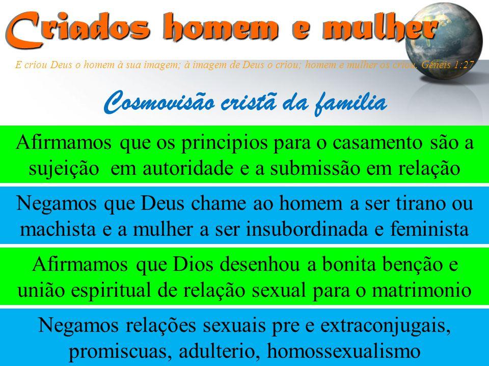 Criados homem e mulher Criados homem e mulher Afirmamos que os principios para o casamento são a sujeição em autoridade e a submissão em relação Cosmo