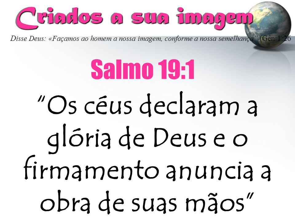 """Criados a sua imagem Criados a sua imagem """"Os céus declaram a glória de Deus e o firmamento anuncia a obra de suas mãos"""" Salmo 19:1 D isse Deus: «Faça"""