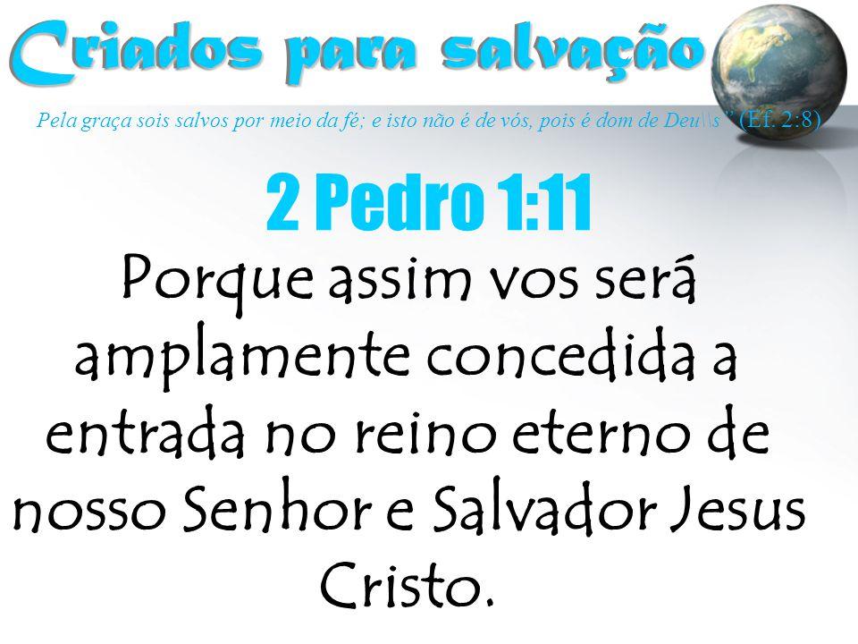 """Pela graça sois salvos por meio da fé; e isto não é de vós, pois é dom de Deu\\s """" (Ef. 2:8) Criados para salvação Criados para salvação 2 Pedro 1:11"""