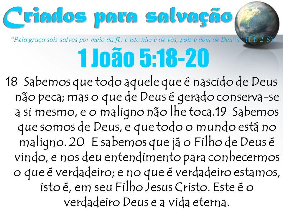 """""""Pela graça sois salvos por meio da fé; e isto não é de vós, pois é dom de Deu\\s """" (Ef. 2:8) Criados para salvação Criados para salvação 18 Sabemos q"""