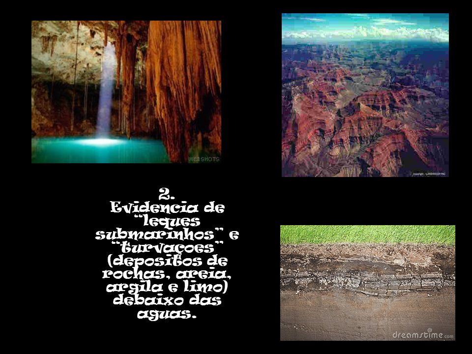 """2. Evidencia de """"leques submarinhos"""" e """"turvaçoes"""" (depositos de rochas, areia, argila e limo) debaixo das aguas."""