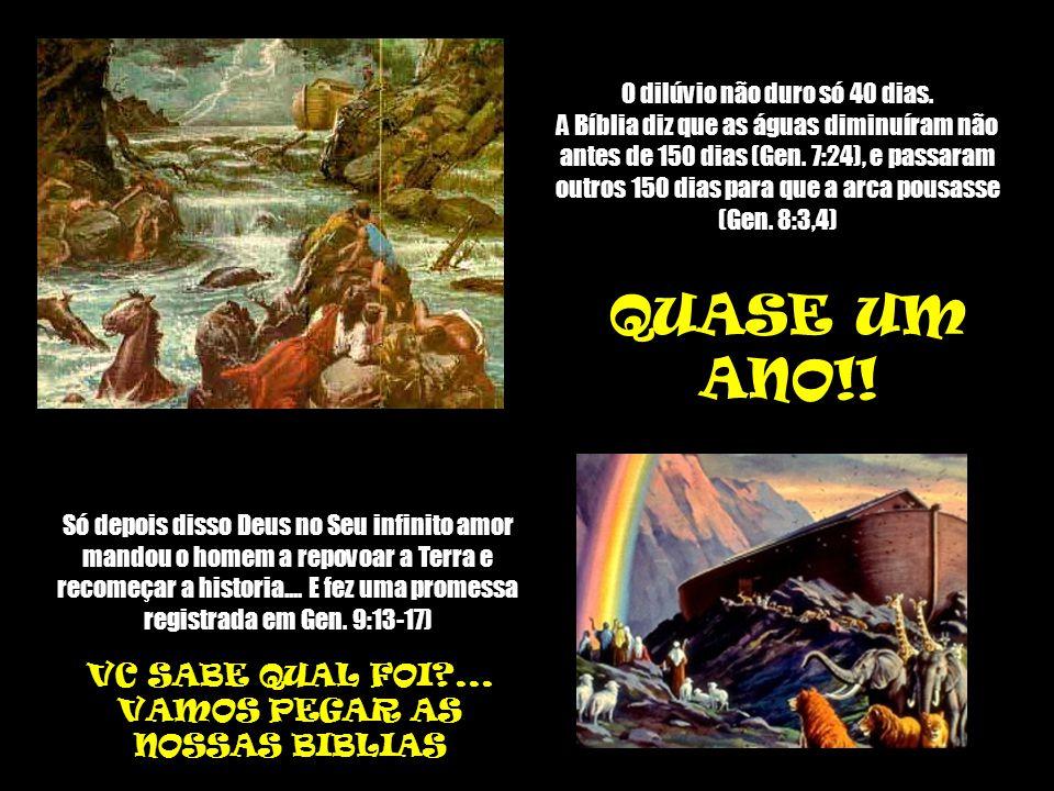 O dilúvio não duro só 40 dias.A Bíblia diz que as águas diminuíram não antes de 150 dias (Gen.