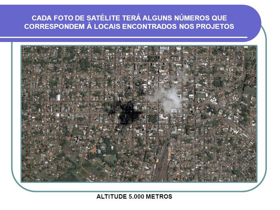 CADA FOTO DE SATÉLITE TERÁ ALGUNS NÚMEROS QUE CORRESPONDEM À LOCAIS ENCONTRADOS NOS PROJETOS ALTITUDE 5.000 METROS.