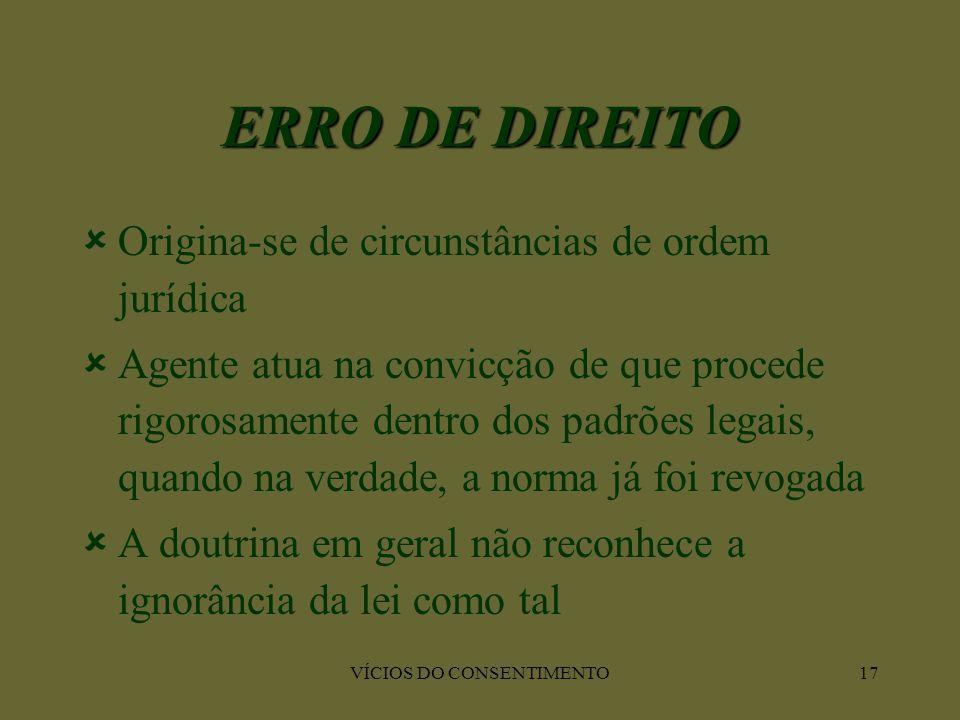 VÍCIOS DO CONSENTIMENTO17 ERRO DE DIREITO  Origina-se de circunstâncias de ordem jurídica  Agente atua na convicção de que procede rigorosamente den