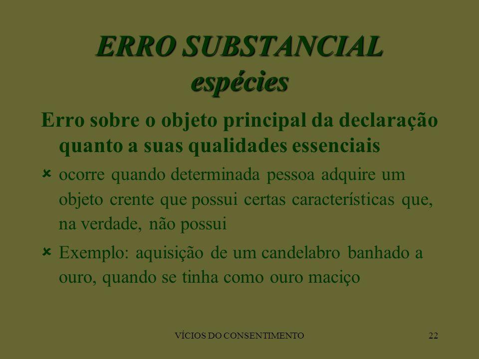 VÍCIOS DO CONSENTIMENTO22 Erro sobre o objeto principal da declaração quanto a suas qualidades essenciais  ocorre quando determinada pessoa adquire u