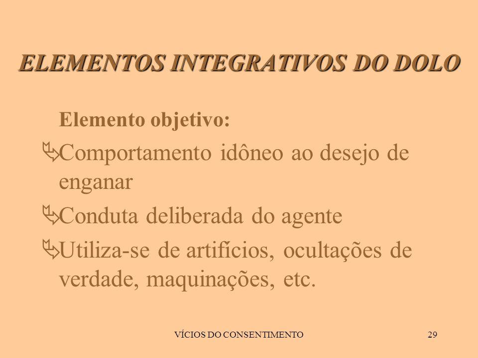 VÍCIOS DO CONSENTIMENTO29 Elemento objetivo:  Comportamento idôneo ao desejo de enganar  Conduta deliberada do agente  Utiliza-se de artifícios, oc