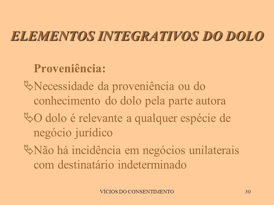 VÍCIOS DO CONSENTIMENTO30 Proveniência:  Necessidade da proveniência ou do conhecimento do dolo pela parte autora  O dolo é relevante a qualquer esp