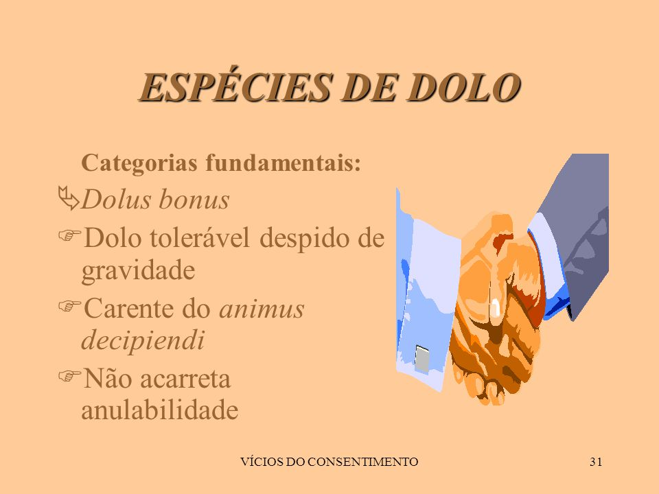 VÍCIOS DO CONSENTIMENTO31 ESPÉCIES DE DOLO Categorias fundamentais:  Dolus bonus  Dolo tolerável despido de gravidade  Carente do animus decipiendi