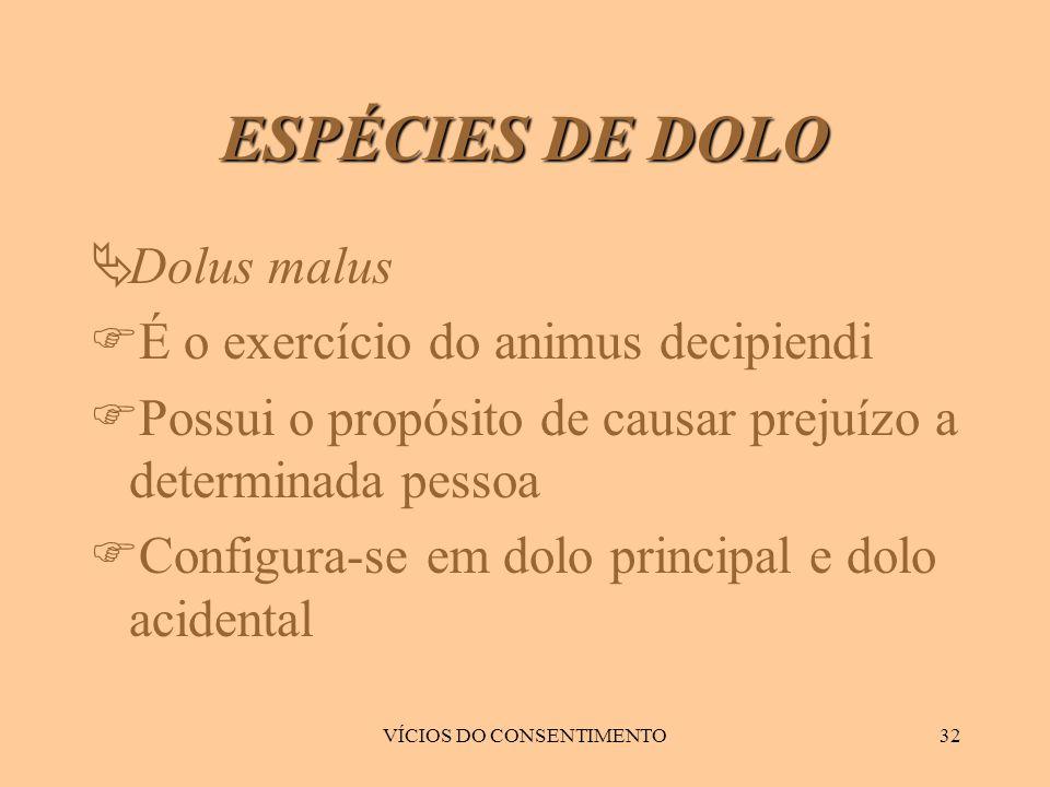 VÍCIOS DO CONSENTIMENTO32  Dolus malus  É o exercício do animus decipiendi  Possui o propósito de causar prejuízo a determinada pessoa  Configura-