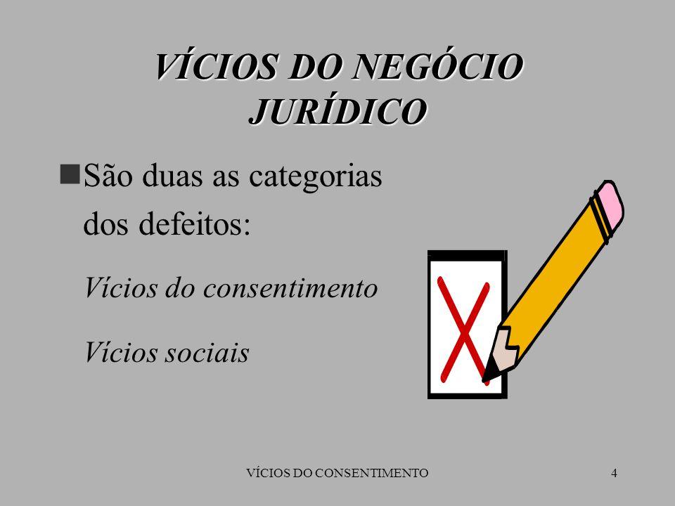 VÍCIOS DO CONSENTIMENTO4 VÍCIOS DO NEGÓCIO JURÍDICO São duas as categorias dos defeitos:  Vícios do consentimento  Vícios sociais
