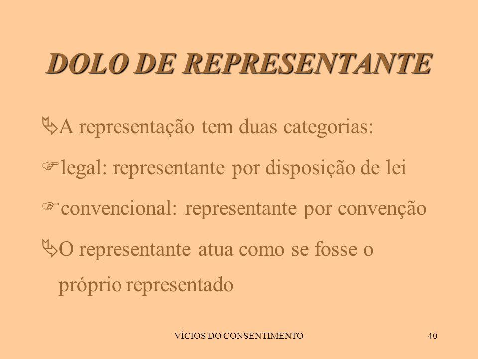VÍCIOS DO CONSENTIMENTO40 DOLO DE REPRESENTANTE  A representação tem duas categorias:  legal: representante por disposição de lei  convencional: re