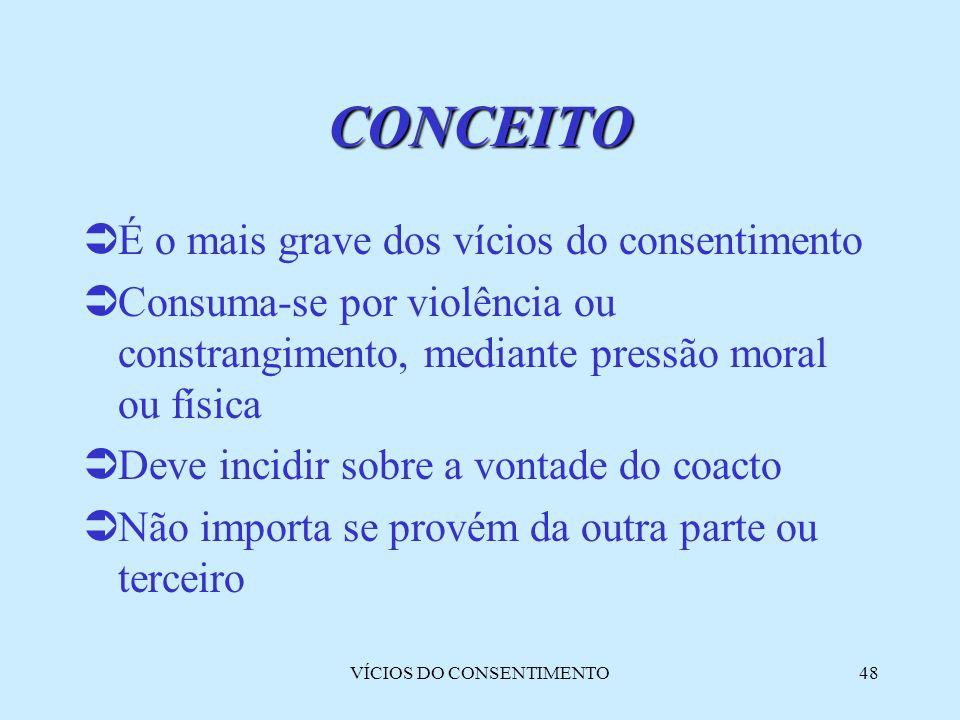 VÍCIOS DO CONSENTIMENTO48 CONCEITO  É o mais grave dos vícios do consentimento  Consuma-se por violência ou constrangimento, mediante pressão moral