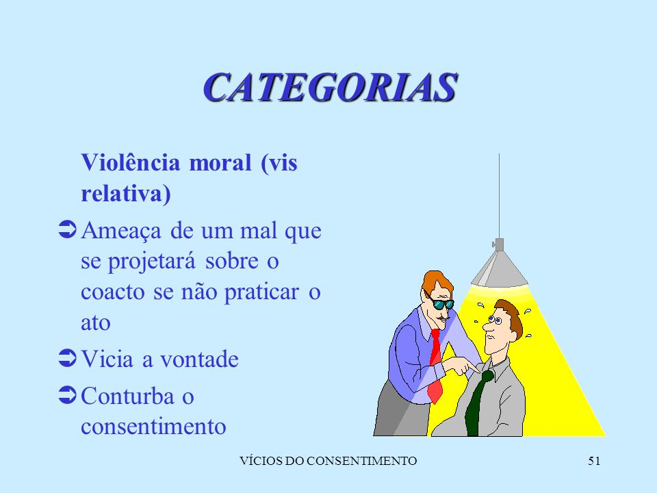 VÍCIOS DO CONSENTIMENTO51 Violência moral (vis relativa)  Ameaça de um mal que se projetará sobre o coacto se não praticar o ato  Vicia a vontade 
