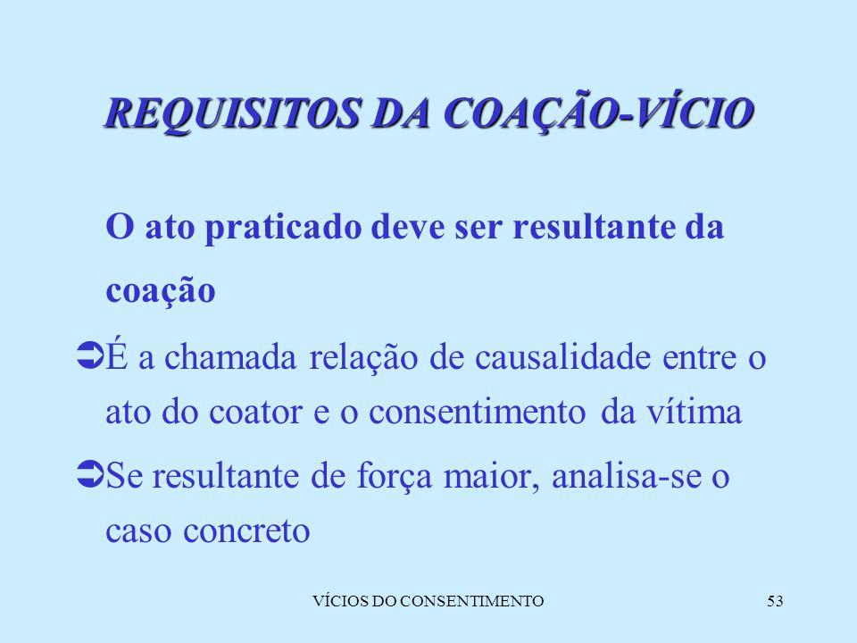 VÍCIOS DO CONSENTIMENTO53 REQUISITOS DA COAÇÃO-VÍCIO O ato praticado deve ser resultante da coação  É a chamada relação de causalidade entre o ato do