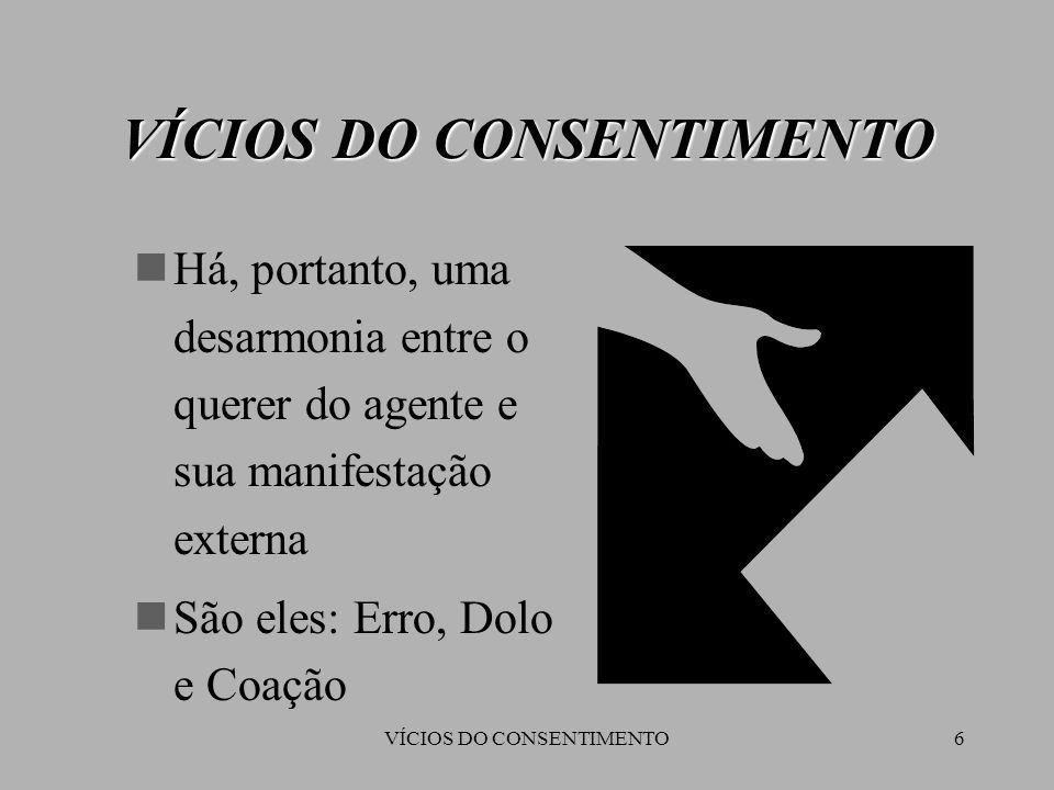 VÍCIOS DO CONSENTIMENTO6 Há, portanto, uma desarmonia entre o querer do agente e sua manifestação externa São eles: Erro, Dolo e Coação VÍCIOS DO CONS