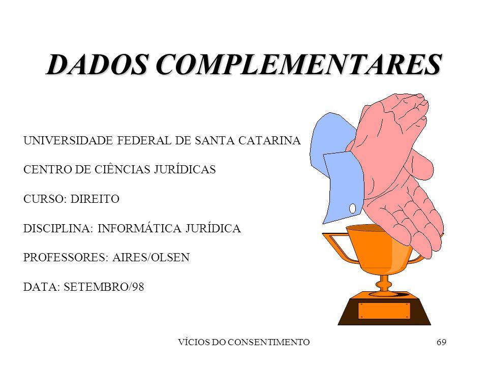 VÍCIOS DO CONSENTIMENTO69 DADOS COMPLEMENTARES UNIVERSIDADE FEDERAL DE SANTA CATARINA CENTRO DE CIÊNCIAS JURÍDICAS CURSO: DIREITO DISCIPLINA: INFORMÁT