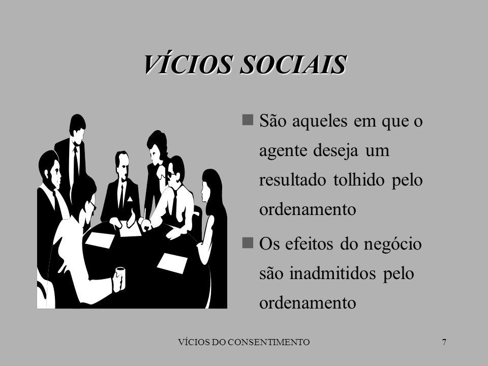 7 VÍCIOS SOCIAIS São aqueles em que o agente deseja um resultado tolhido pelo ordenamento Os efeitos do negócio são inadmitidos pelo ordenamento