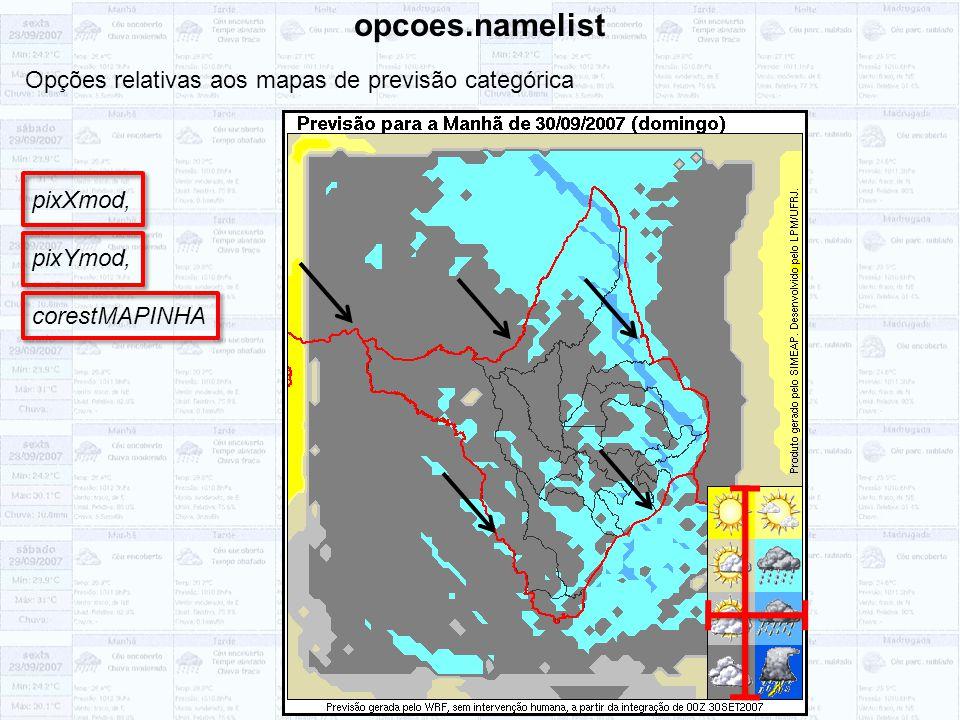 opcoes.namelist Opções relativas aos mapas de previsão categórica pixXmod, pixYmod, corestMAPINHA
