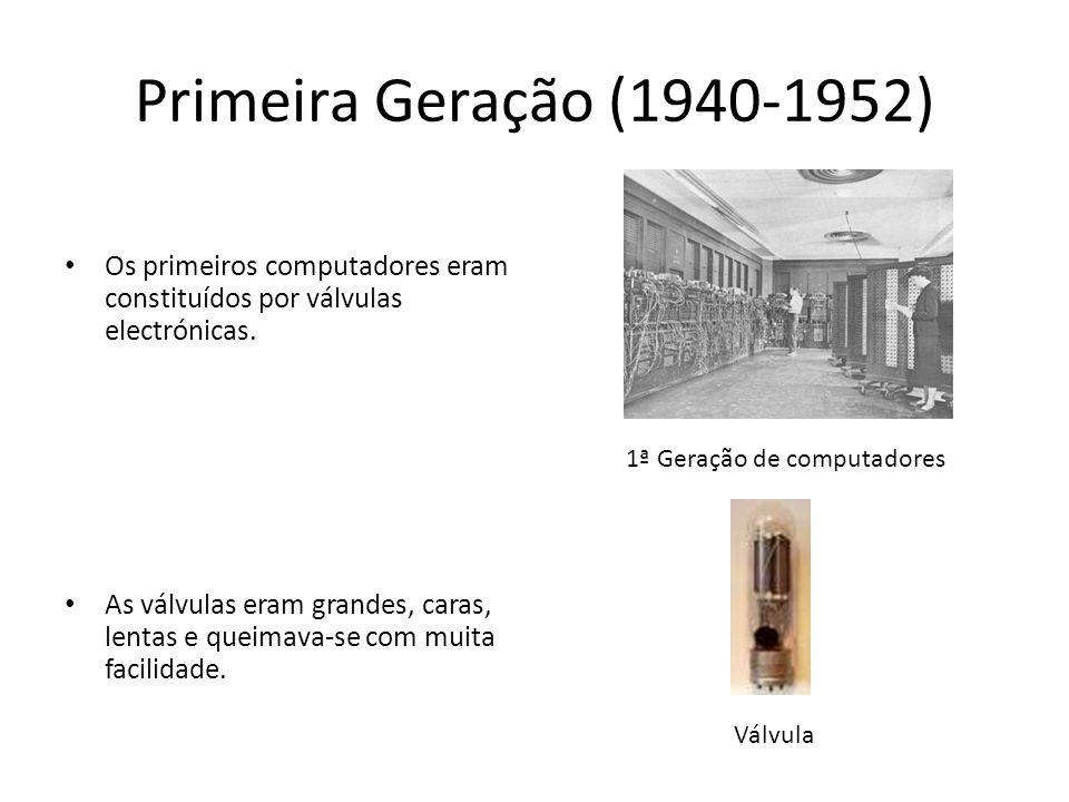 Primeira Geração (1940-1952) Os primeiros computadores eram constituídos por válvulas electrónicas. As válvulas eram grandes, caras, lentas e queimava