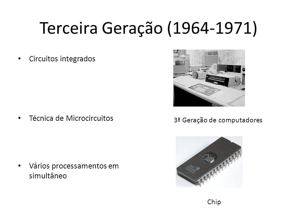 Quarta Geração (1971-1981) Microprocessador Redução de tamanho Linguagem de alto nível Nasce a Telemática 4ªGeração de computadores Micro-chip