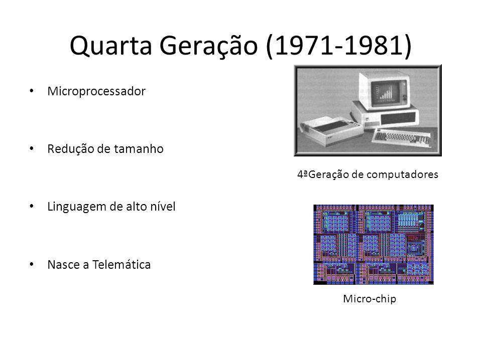 Quinta Geração ( 19??-19??) Super computadores Multimédia Era on-line CAD/CAM e CAE Mais rápidos Mais acessíveis 5ª Geração de computadores