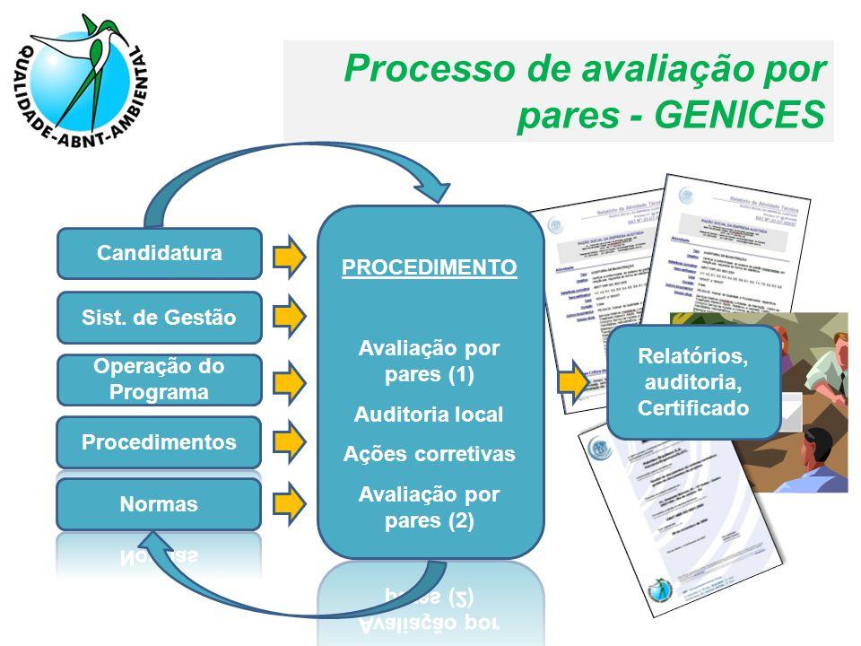 Processo de avaliação por pares - GENICES Candidatura Sist. de Gestão Operação do Programa Relatórios, auditoria, Certificado