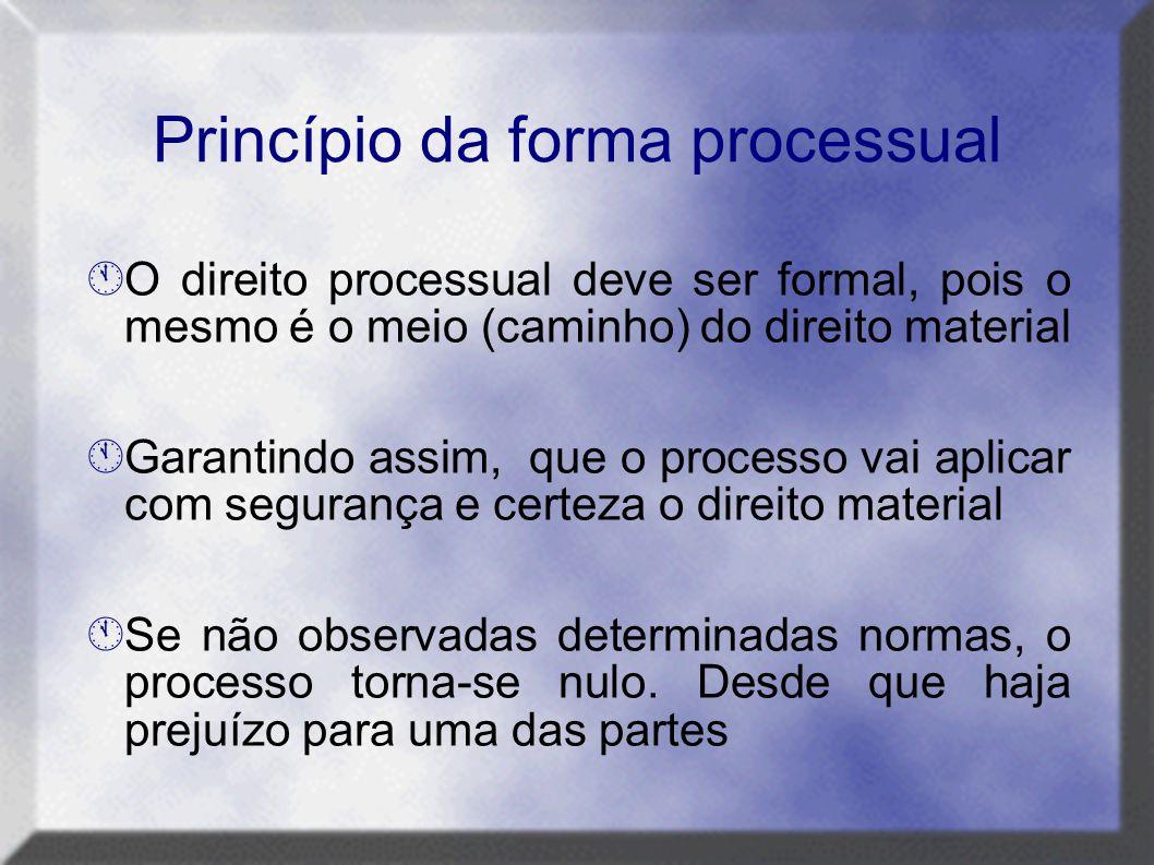 Princípio da forma processual  O direito processual deve ser formal, pois o mesmo é o meio (caminho) do direito material  Garantindo assim, que o pr